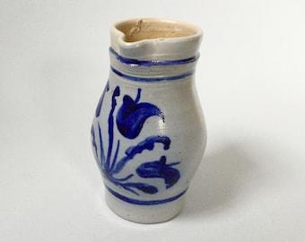 Stoneware pitcher, Blue tulips pattern, Blue flower jug, Large water jug, Rustic wine jug, Handpainted