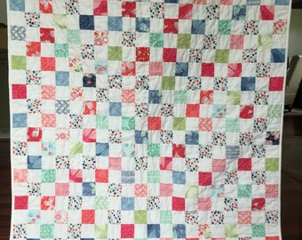 Spring Summer Baby Toddler Postage Stamp Quilt Blanket  Girl  Modern Patchwork Rainbow red coral green blue white butterflies butterfly