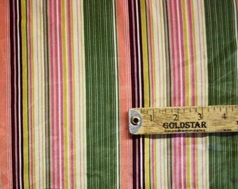 "Multicolored Stripe Print Silk Fabric 43"" Wide Per Yard"