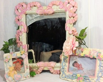 Decorative Wall Mirror, Pink Ribbons Bows Mirror, Girl's Nursery Wall Decor Mirror, Shabby Pink White Mirror, Vintage Mirror, Wall Gallery