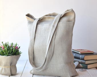 Market tote bag with pockets, Linen shopping bags, canvas bag, Linen beach bags, travel bag, Linen shoulder bags, Summer linen bag, sewing