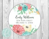 """Watercolor Floral -  Return Address Labels - 2"""" Round Stickers - Glossy or Matte - Flowers Pink Red Matching Note Cards Feminine Women"""