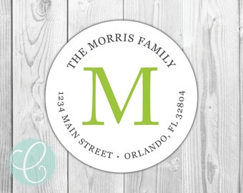 """Simple Family Monogram -  Return Address Labels - 2"""" Round Stickers - Glossy or Matte - Simple Serif Monogrammed Lime Green Mens Modern"""