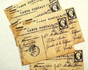 5 pcs. Vintage French Postcard Stickers, Handwritten Postcards from Postmarked France, Ephemera, Handmade Sticker Pack