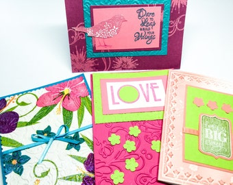 Colorful hibiscus blank card - all occasion cards  - bright birthday cards - shimmer embossed - bird cards - Love - lime green - embossed