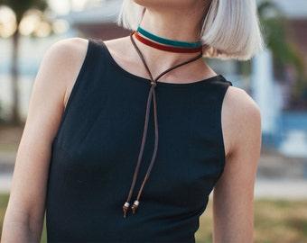 Choker Necklace - Turquoise and Rust Velvet Bolo Tie Choker Necklace - Brown Leather and Velvet Ribbon - 90's - Boho-Chic Bohemian Choker
