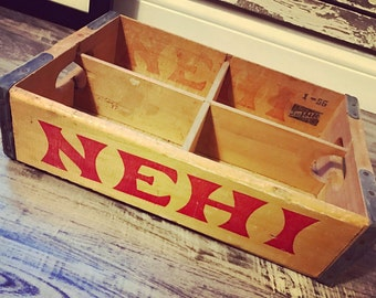 Very RARE Vintage 1956 NEHI Wood Soda Pop Crate Case Lansing Mi