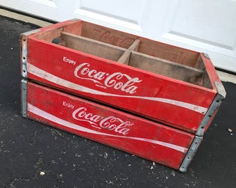 2 Vintage 1975 Coca Cola Coke Wood Soda Crates Lot 4 Dividers