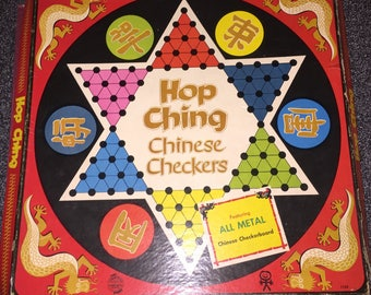 Chinese Checkers Set, Hop Ching Chinese Checkers Board Vintage 1960s-70s Pressman Toy Corp Metal Toy Set Tin w Orig Box