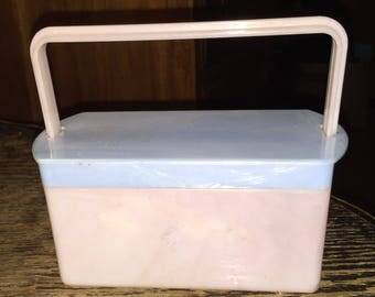 Midcentury Pearlized Lucite Lunchbox Retro Lucite Purse Child's Deco Lucite Box Purse Pink and Blue Milrose Plastics NY USA