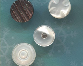 4 Vintage  Carved Mother of Pearl Buttons-Item# 395