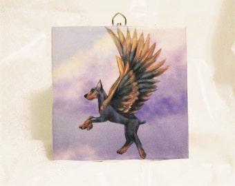 Dobeasus ( Doberman Pegasus)  Wall Tile, Dog Lover Art, Dog Lover Gift, Unicorn, home decor, Kitchen Tile
