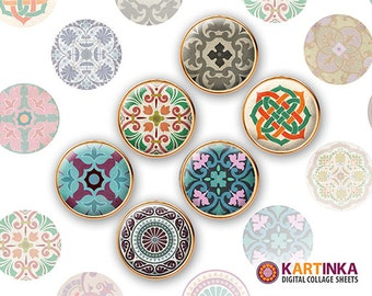 20mm, 15mm, 12mm, 10mm Download TRADITIONAL ORNAMENTS Printable Images for Earrings Rings Cuff links Pendants Bracelets Bottle caps Kartink