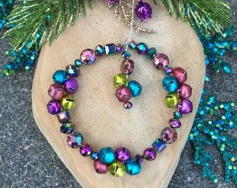 KALEIDOSCOPE JINGLE BELL Wreath Ornament-Aurora Borealis-Metallic Tree Ornament-Royal Color Wreath-Handmade-Animal Rescue-Pink Blue & Brass