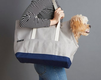 Canvas Pet Tote Grey & Navy - Dog Carrier