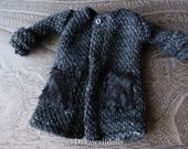 Blythe Doll Outfit /  1/6 doll size / Linen / wool/  coat/ navy