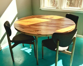 Round butcher block dining table