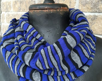 Infinity loop scarf blue grey black stripe jersey knit handmade in Montreal fashion accessory