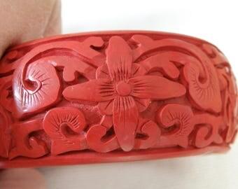 Vintage Red Carved Cinnabar Bangle Bracelet