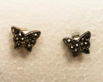 Vintage Sterling & Marcasite Butterfly Post Earrings