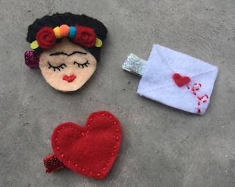 Frida Kahlo hand stitched hair clip trio