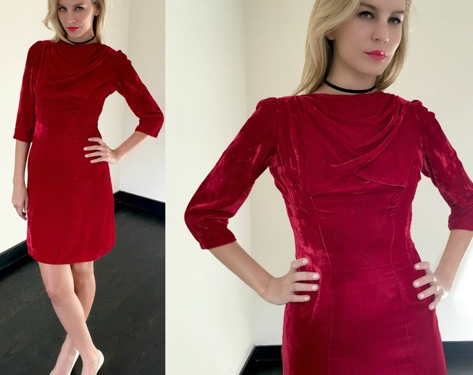 Vintage 60s Red Velvet Wiggle Dress