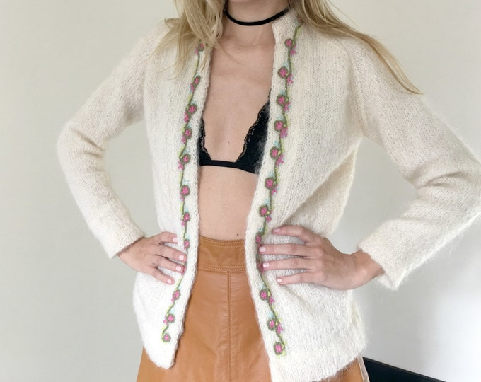 Vintage Ivory Mohair Cardigan
