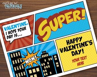 Printable Superhero Valentine Cards, Kid's Super Hero Valentines, Editable Valentines, INSTANT DOWNLOAD digital file