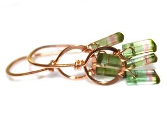 Watermelon Tourmaline Earrings Watermelon Crystal Earrings Rose Gold Earrings Rose Gold Jewelry Gold Loop Earrings Delicate Earrings Hoop