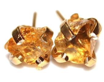 Raw Citrine Stud Earrings Organic Earrings Citrine Jewelry Free Form Earrings November Birthstone Citrine Prong Set Earrings Raw Gemstones