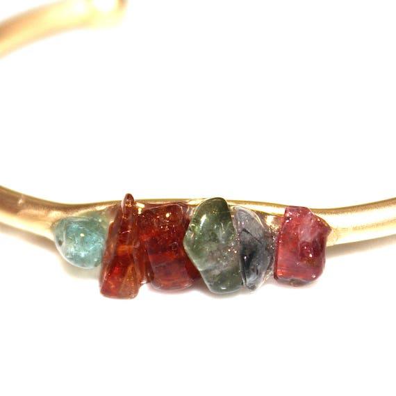 Rainbow Tourmaline Nugget Cuff Bracelet