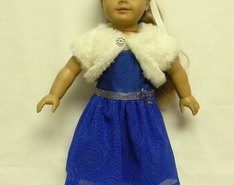 Royal Blue Formal Dress for 18 inch doll like the American Girl.