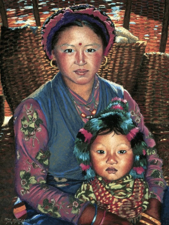 8x10 Mother and Child Fine Art Giclee Print, Himalayan Endurance, Pastel Painting By Jan Maitland, Rose, Blue, Terracotta, Baskets, Yurt