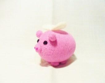Needle Felted Pig -  miniature flying pig figure - 100% merino wool - Pig With Attitude - wool felt pig - pocket pig