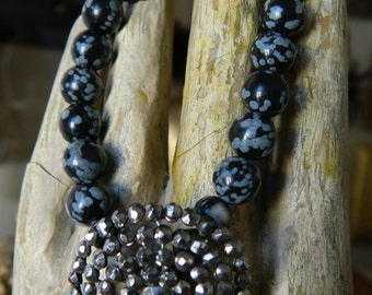 SALE 15% coupon code MARCH15 Assemblage Bracelet Obsidian and Antique French Steel Cut Button