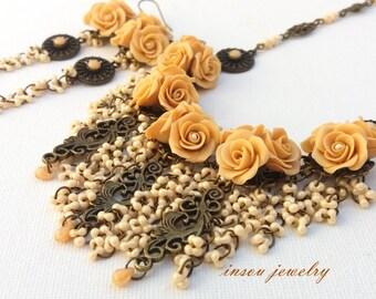 Statement Necklace, Wedding Jewelry, Handmade Jewelry Set, Romantic Jewelry,Flower Jewelry, Roses, Wedding Necklace,Women Gift,Beige Jewelry