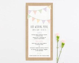 Burlap wedding menu
