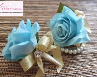 Men's Boutonniere, Light Blue Rose with Gold ribbon and rhinestone accent, silk flower boutonniere