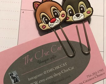 Chip & Dale chipmunk inspired planner clips-paperclips-planner-bookmark