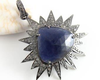 Pave Diamond & Sapphire  Pendant, Pave Diamond Fancy charm, Pave diamond and Sapphire Fancy Charm,  (DCH/PDT/1198)