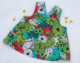 Reversible Crossover Dress, Girls Pinafore Apron, Flowers Chrysanthemum size 6-18 months