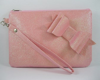 SUPER SALE - Pink Glitter Little Bow Clutch - Bridal Clutch, Bridesmaid Clutch, Wedding Clutch, Wedding GIft - Made To Order