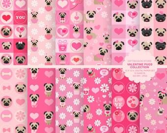 Valentine pug digital paper dogs digital paper valentine digital backgrounds - INSTANT DOWNLOAD