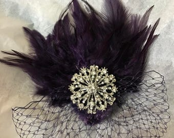 Dark Eggplant fascinator, dark eggplant feather hair comb, bridesmaid hair clip, wedding hair accessories, Gatsby feather fascinator,