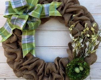Neutral Tone Spring Easter Front Door Burlap Wreath--Birds Nest Wreath--Spring Wreath--Easter Wreath--Burlap Wreath