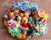 MADE TO ORDER- Winnie the Pooh and Friends Deluxe Wreath -- Spring, Nursery, Piglet, Eeyore, Owl, Tigger, Roo, rabbit