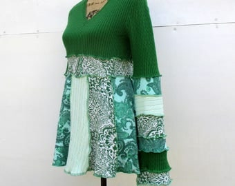 Green Sweater - Gypsy Style Tunic - Long Cotton Top -Upcycled Wearable Art - Emerald Mint Teal - Romantic - Attractive Feminine Clothes