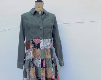 Jacket for Women - Hippie Style Clothing - Sage Moss Olive Earth Tones - Patchwork - One of a Kind - Boho Summer Fashion - Free Spirit