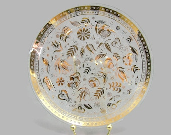 George Briard Gold Persian Garden Plate, Small Serving Tray, Briard Round Glass Serving Platter, Gold Floral Plate