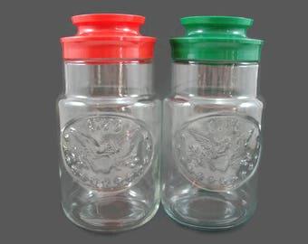 2 Maxwell House Bicentennial Glass Jars, Anchor Hocking Jar, Red & Green Lid Bicentennial Jar